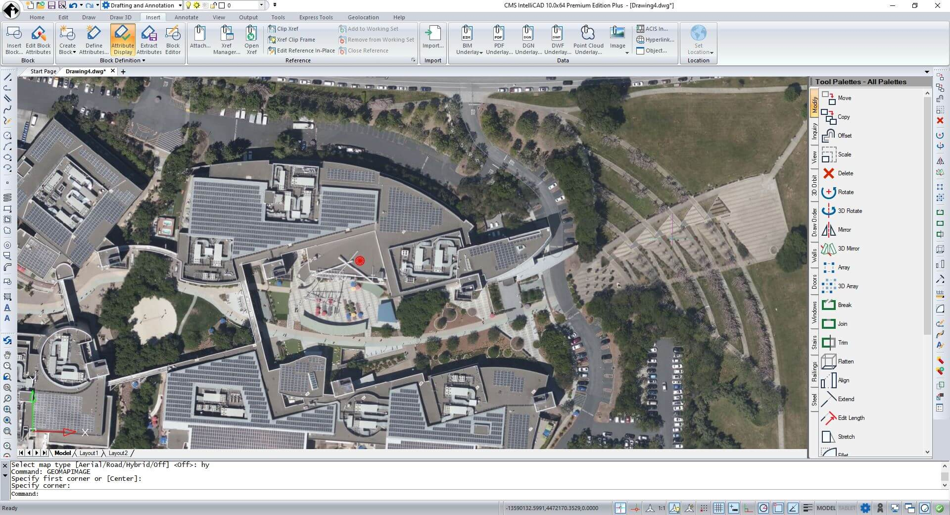 CMS IntelliCAD geographic map image insertion based on geographic location imported by .kml file