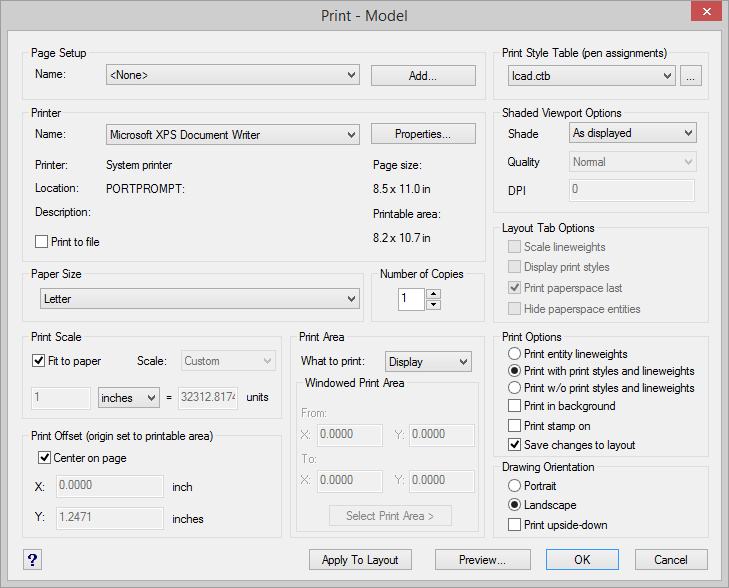IntelliCAD Print Settings